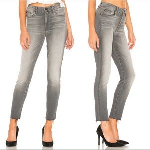 Mother The Looker Ankle Fray Skinny Jeans in Grat
